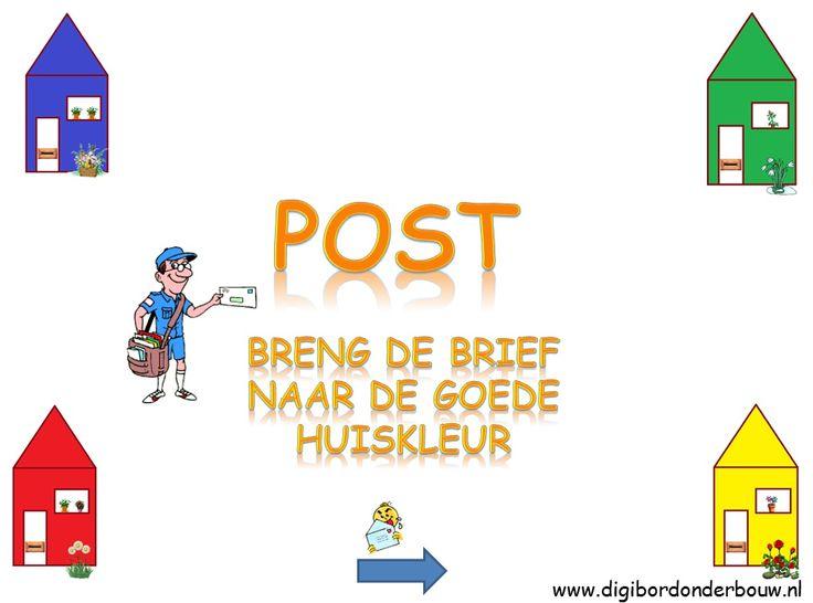 Digibordles: Breng de postbode met zijn brief naar de goede huiskleur. http://digibordonderbouw.nl/index.php/themas/beroepen/postdigibordlessen/viewcategory/212