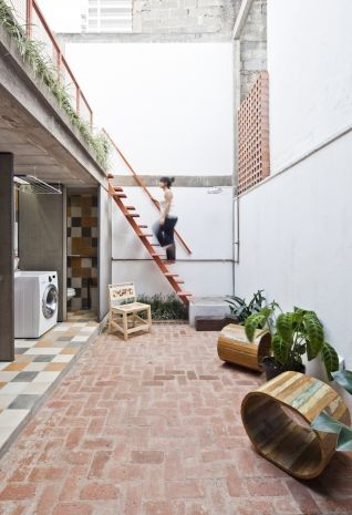piso tijolo  terraço