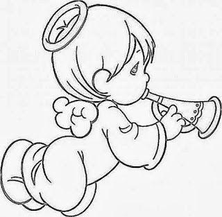 desenho de anjinho tocando corneta para pintar