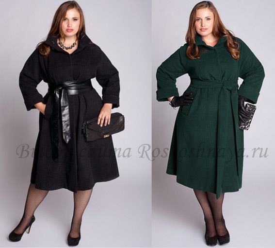 Модные пальто для полных дам