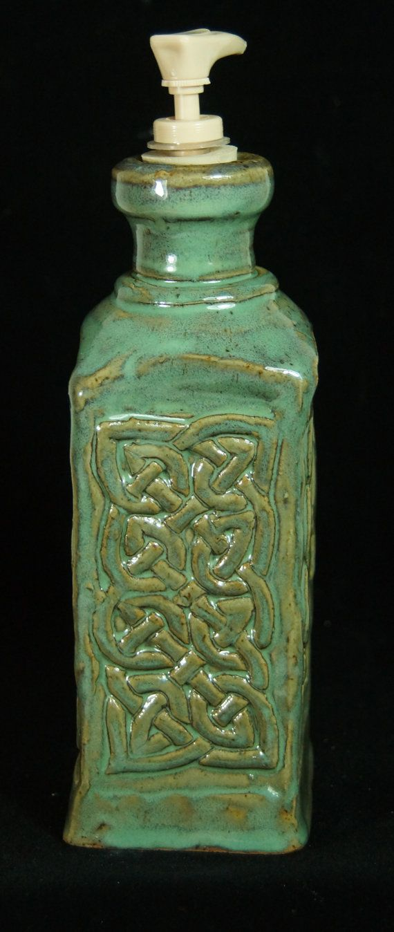 Green Celtic Lotion Bottle Handmade Pottery