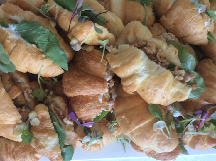 Croissant with Chicken, Pear, Blue Cheese Creme and Rocket.