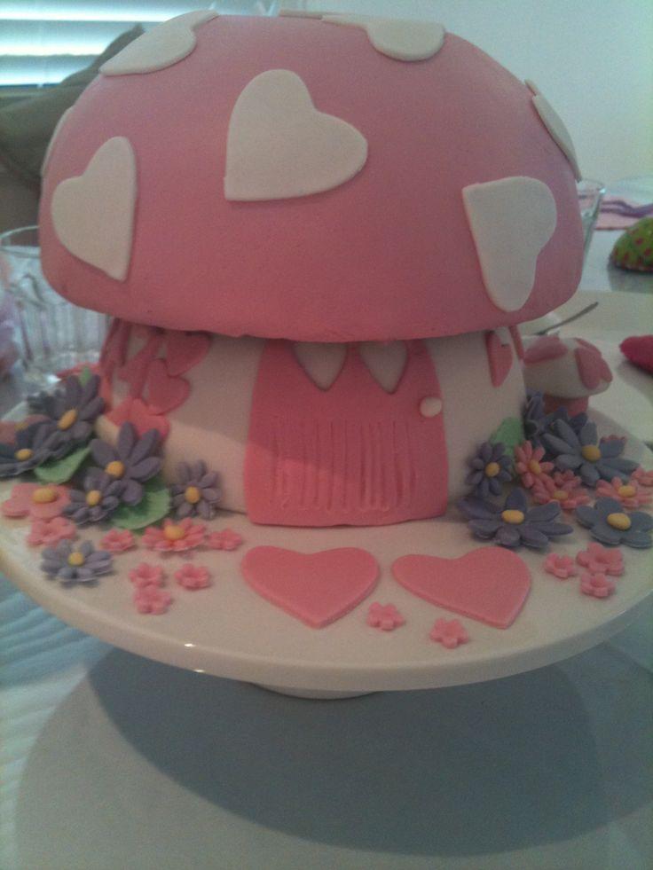 Toadstool house cake