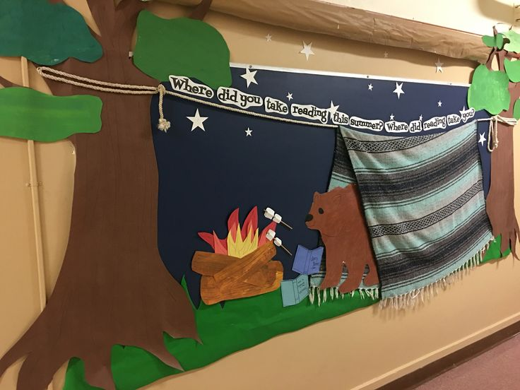 School library bulletin board back to school! You need rope and a blanket and nails!