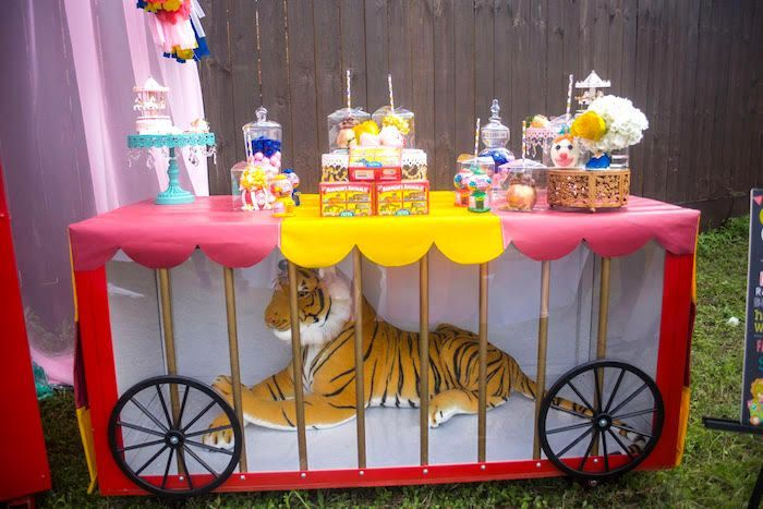 Tiger cage dessert table from a Backyard Carnival Birthday Party on Kara's Party Ideas   KarasPartyIdeas.com (20) #Circus