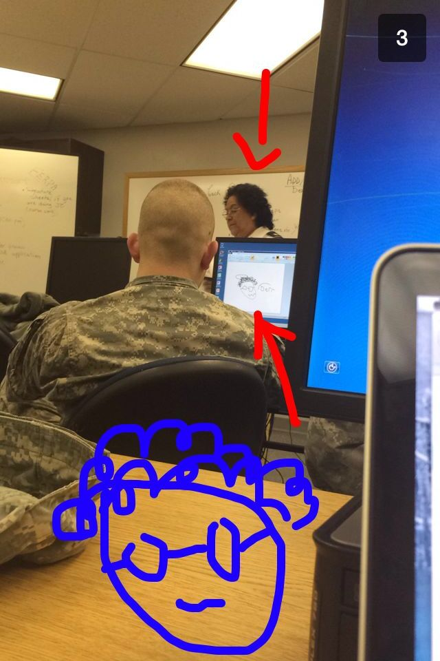 The guy in front of me must have been bored in class today