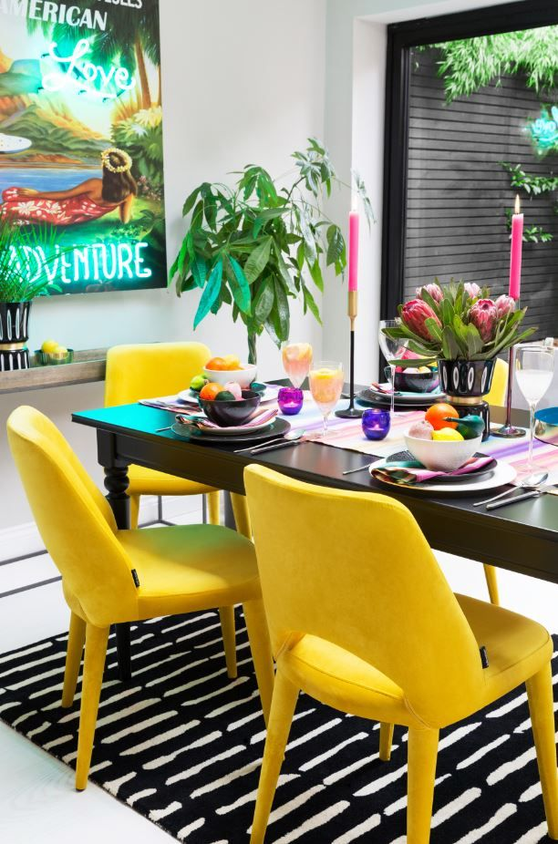 A Rich Carnival Of Colour The Arcade Trend Is A By Amara S Boldest Look So Far And Is Set To Light U Dining Room Style Dining Room Colors Eclectic Dining Room Top tropical dining rooms vibrant