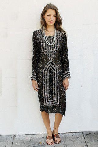Tavin Boutique - Black and Green Afghani Dress