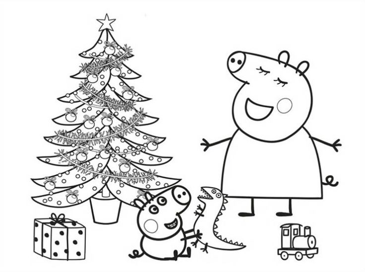 peppa pig peppa pig and george opened their christmas present coloring page peppa pig - Peppa Pig Coloring Book