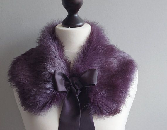 Violet faux fur collar by imali on Etsy, $25.00... if only it got cold enough in Florida to justify this.