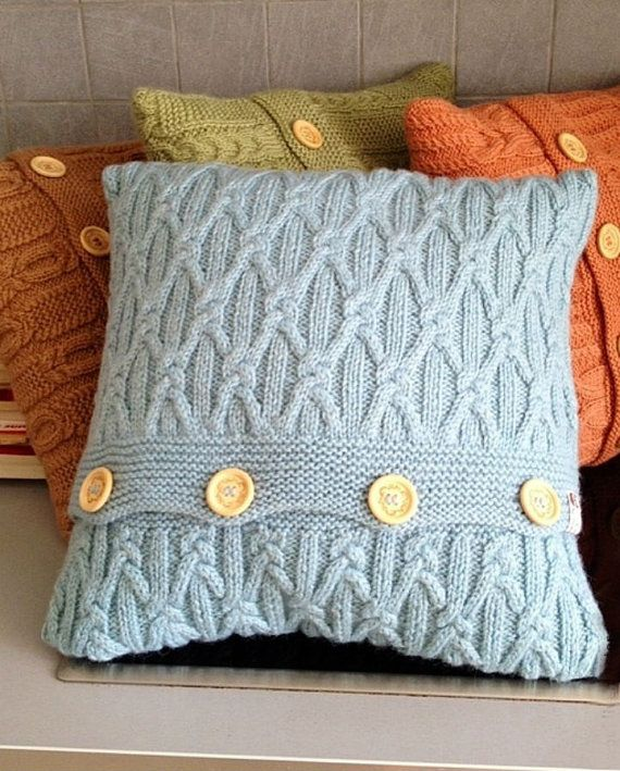 Hand knitted sky blue Pillow case. Wool / by SoftCozyAndWarm