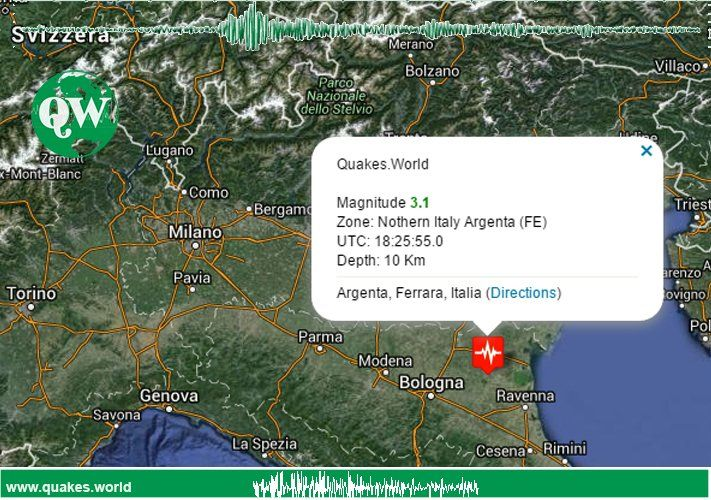 An Earthquake was registered in zone Northern Italy Emilia Romagna, Argenta Ferrara