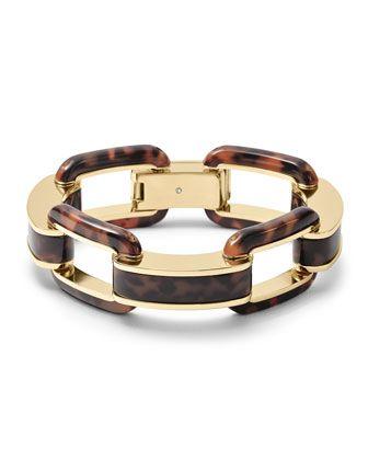 Michael Kors Tortoise Acetate Link Bracelet, Golden/Tortoise.