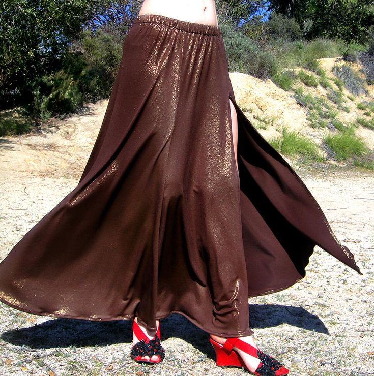 Brown Maxi Skirt With Slit. Ameynra Fashion Photograph by Sofia Metal Queen