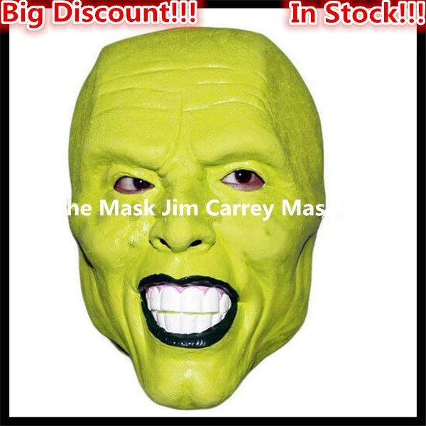 Free shipping Halloween Party Cosplay Details Loki latex mask Jim Carrey Costume Fancy Dress Famous Movie Props 'The Mask' Toys
