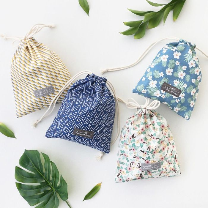 Iconic Comely cotton medium drawstring pouch - fallindesign