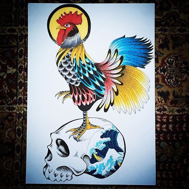 Awesome Rooster Tattoo Design Created By James Robb Using Their Chameleon Pens Chameleonpens Pen Marker Alco Rooster Tattoo Tattoo Artists Tattoo Designs