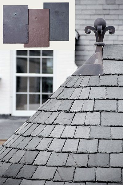 gabled roof with slate shingles with inset of synthetic slate tiles