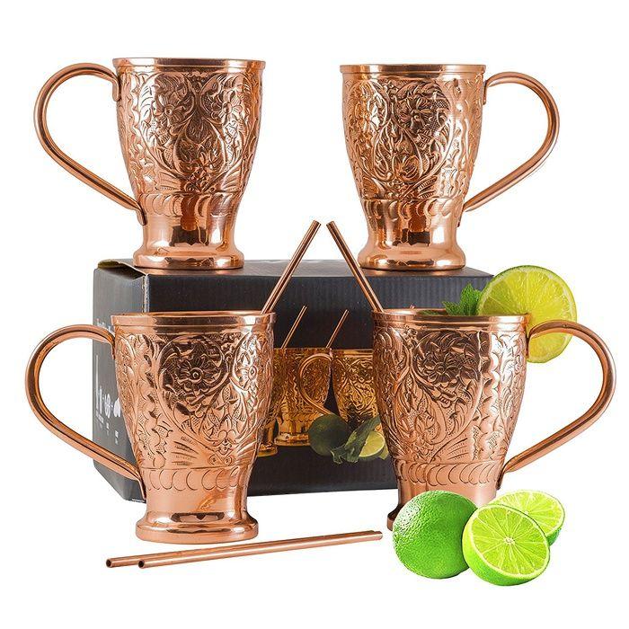 10 Best Moscow Mule Mugs - #4 Kamojo Mule Moscow Mule Pure Copper Mug Set #rankandstyle