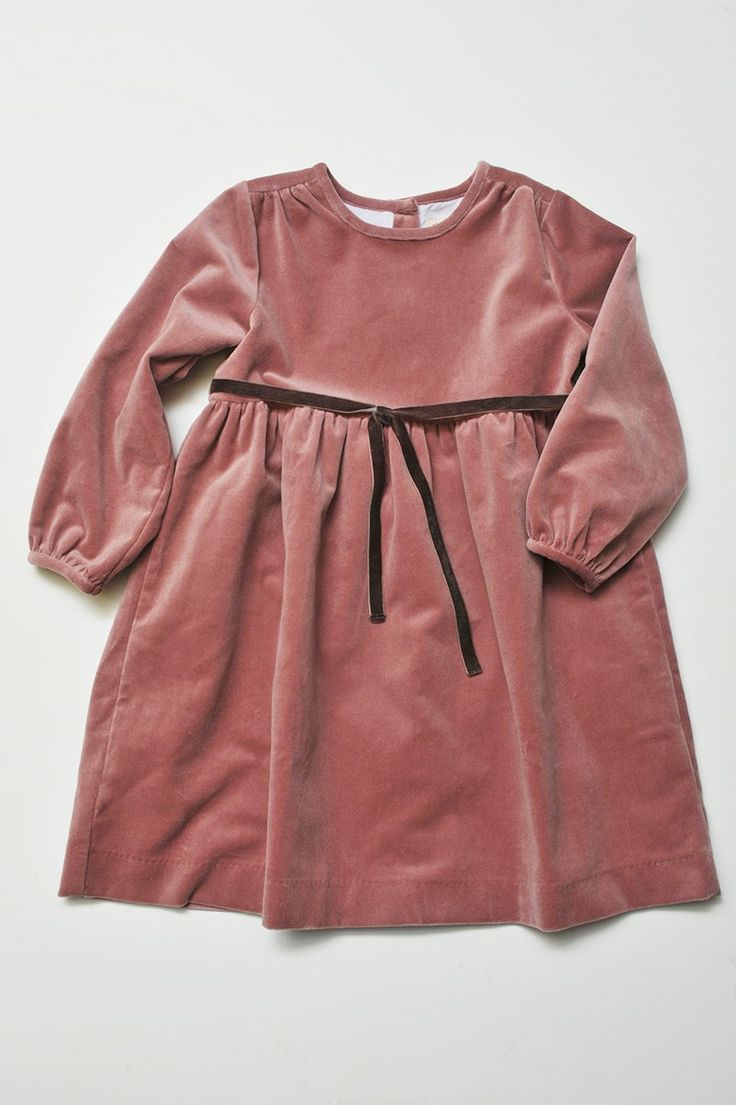 Holiday Classic Velvet Tie Dress in Rose Velveteen | Olive Juice #holidaydress