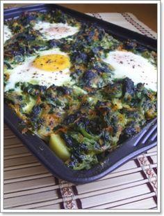 Patates tabanlı yumurtalı ıspanak