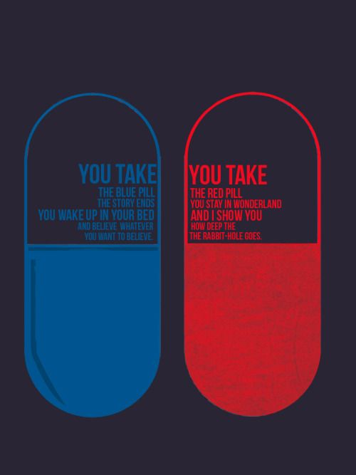 """""""You take the blue pill, the story ends. You wake up in your bed and believe whatever you want to believe. You take the red pill, you stay in Wonderland, and I show you how deep the rabbit hole goes."""" -From 'The Matrix'"""