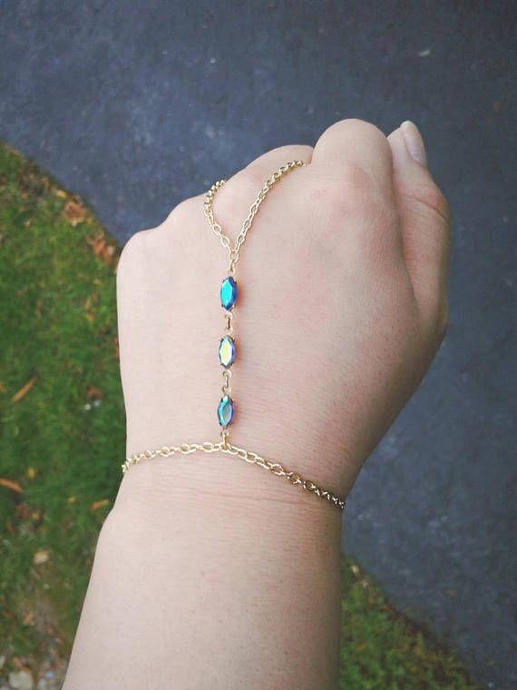 Boho Slave Bracelet Gem Hand Chain Rare Antique Gem Hand Chain