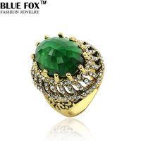 vintage grandi anelli per le donne 2014 di nuovo modo della boemia pietra di cristallo volpe blu dei monili 4 colori all'ingrosso BF-0-1