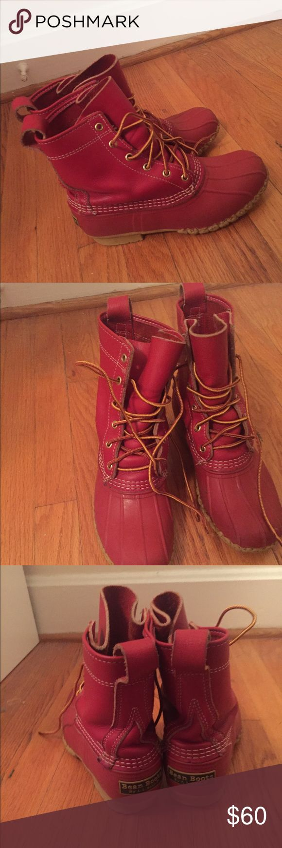 Red LL Bean Boots (women's 8) Women's 8 red LL bean boots- special edition. Fit true to size. In great condition, only worn a few times LL Bean Shoes Winter & Rain Boots