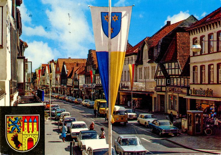 "Germany - Lower Saxony - Nienburg am Weser - 1977 - front | The Good Old Krüger Times #38 My Krügers #170  1977 Krüger card from Germany / Deutschland, Lower Saxony / Niedersachsen, Nienburg am Weser, featuring VW Type3 Squareback / Typ 3 Variant + Beetle / Käfer (x3 min) + Beetle Convertible / Käfer Cabriolet + Transporter/Hochkastenwagen (!) Mk2A, MERCEDES-BENZ W114/115 ""Strich Acht"" + T2 Edüsseldorfer"" Transporter, OPEL Diplomat B + Rekord B + Rekord"