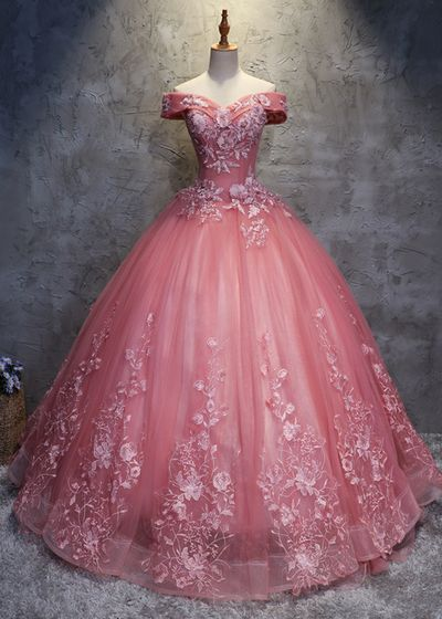 2018 off shoulder pink tulle long handmade evening dress, long ball gown
