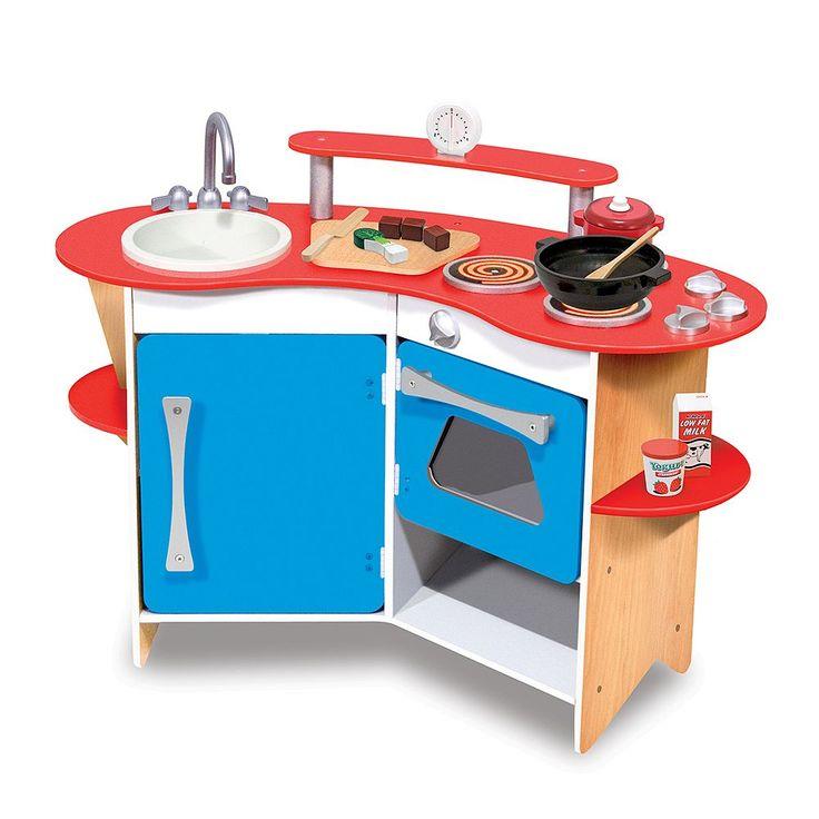 Melissa and Doug Cook's Corner Wooden Kitchen Playset, Multicolor