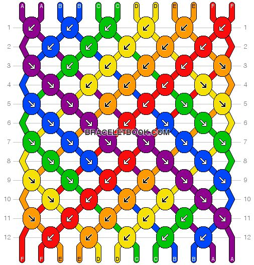 Rainbow striped friendship bracelet pattern number 10988 - For more patterns and tutorials visit our web or the app!