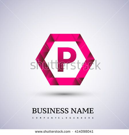P Letter logo icon design template elements on red hexagonal. - stock vector