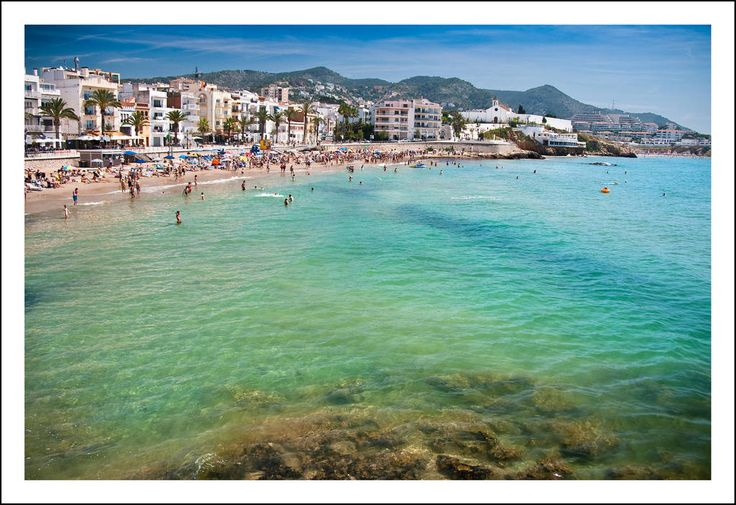 This is Sitges beach. Sitges is the nearest beach to Barcelona that is worth going to. It is just 45 minutes from the city.