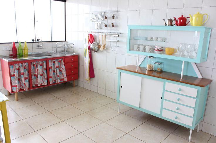 Semi Joia Aparador De Aliança ~ Cortina da pia por dentro do balc u00e3o Armário retr u00f4 Decora Pinterest Crates and Kitchens