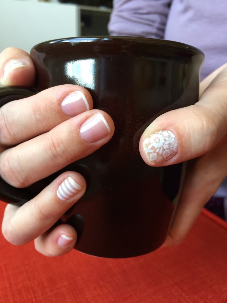 "Jamberry Nails. We have simple wraps too! White Pink Tip, White Stripe, and Chantilly wraps. Send me an email for a free sample:(crabbygirls2@gmail.com) make ""free sample"" the subject line. Join my team and make money having fun!!! https://2crabbygirls.jamberry.com/profile/"