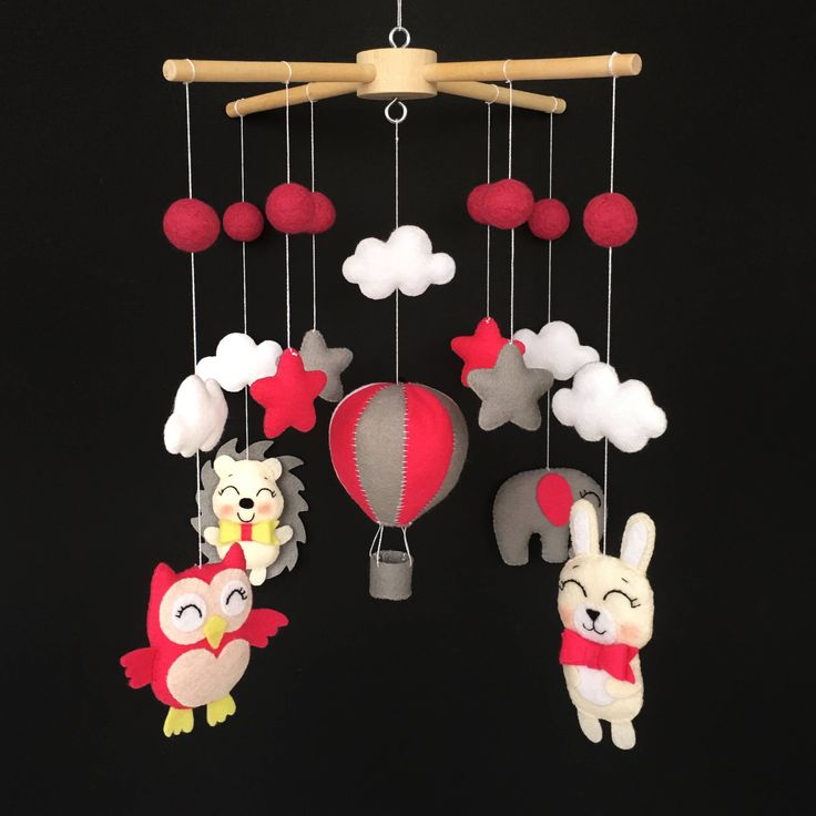 Animal Mobile -  Nursery Decor - Crib Mobile - Unique Baby Gift - Balloon Mobile - Baby Mobiles Hanging - Felt Mobile - Nursery Mobile by BimbaUA on Etsy https://www.etsy.com/listing/557968204/animal-mobile-nursery-decor-crib-mobile