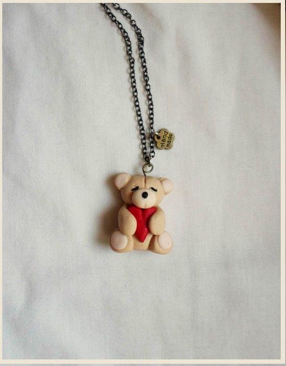 love bear heart necklace   miniature polymer clay cute jewelry