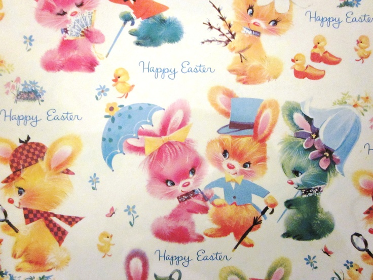 633 best vintage wrapping paper images on pinterest vintage darling bunny gift wrap negle Images