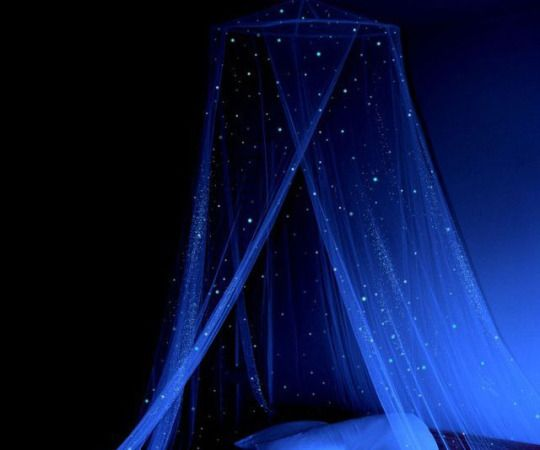 Glow in the dark bed canopy