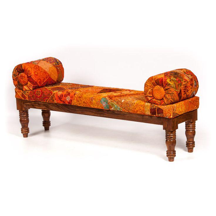 Indiase sofa - oranje patchwork