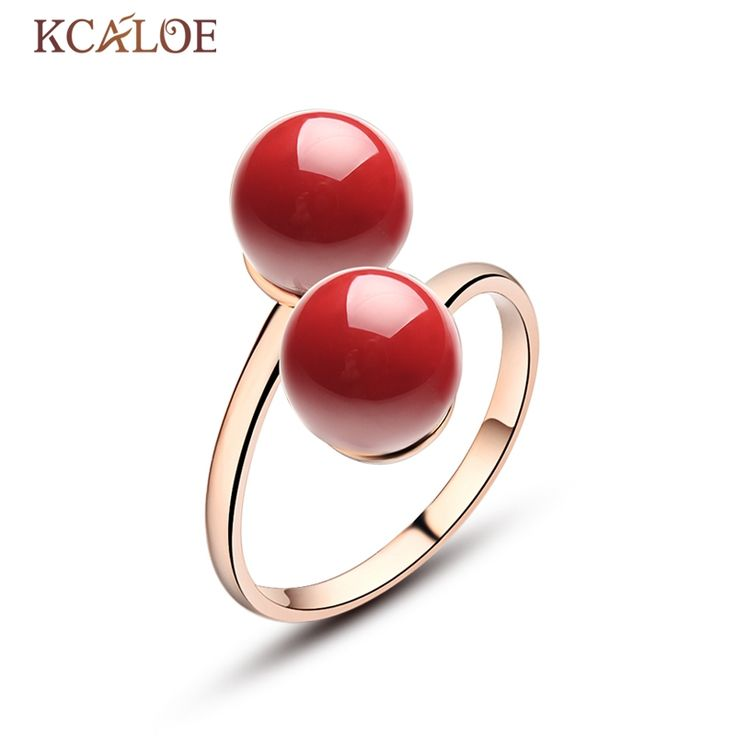 KCALOE Natural Double Ball Ring Adjustable Open Anel Feminino Rose Gold Plated Red Coral Stone  Jewelry Rings Aneis De Ouro