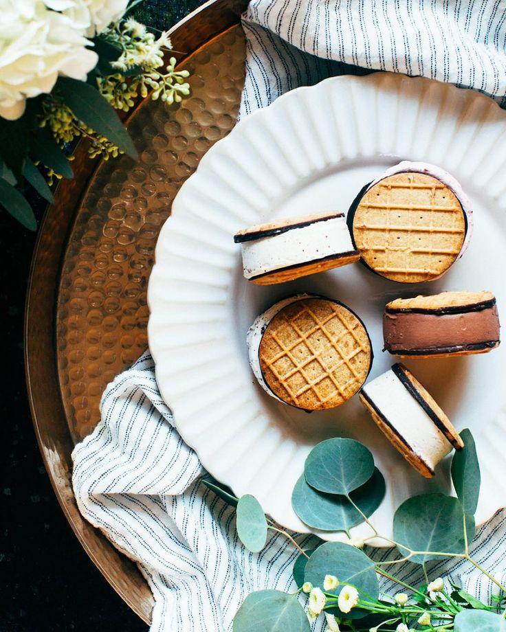 Ice cream sandwiches with dark chocolate waffle cone cookies