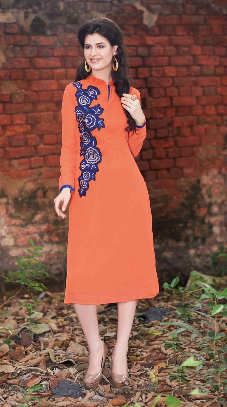 Orange Rich Designer Readymade Georgette Kurti