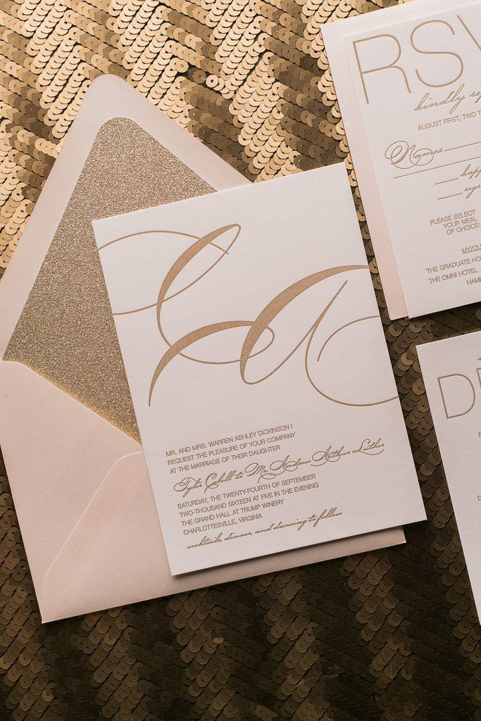 JESSICA Suite Glitter Package, Affordable Letterpress Wedding Invitations  With Glitter Envelope Liners, Blush And