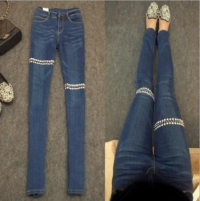 Nieuwe vrouwen diamond Klinknagel jeans potlood broek voeten broek Plus Size Lange Jeans
