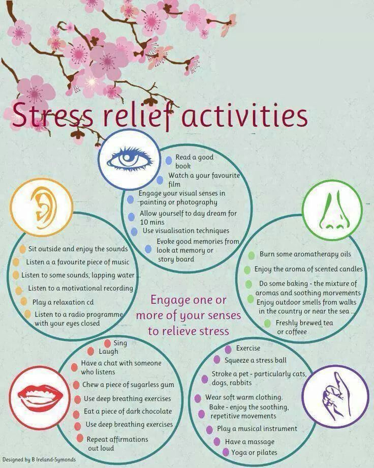 Here are some really useful stress relief activities that you can use when you feel the need to try to relax.                                                                                                                                                      More                                                                                                                                                                                 More
