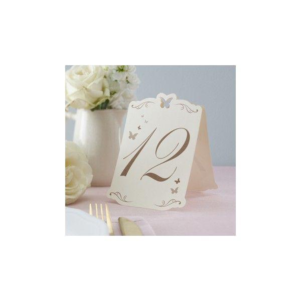 I numeri da 1 a 12 numeri da tavola stampati su carta di qualità, con numeri e decori  in oro e un intarsio a forma di farfalla nella parte superiore che completa il look  semplice ed elegante.    Ogni segnatavolo misura 10,3 x 15,4 cm
