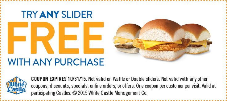 White Castle Slider for free w/ purchase Participating White Castle locations offer a slider for free with any purchase via this printable coupon. Some exclusions apply. Click here to find the near…
